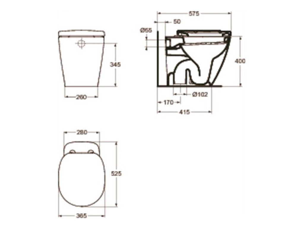 Ideal standard connect vaso a terra therapy 4 home - Misure accessori bagno ...