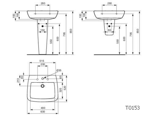 Ideal Standard Lavabi Sospesi.Ideal Standard 21 Lavabo Sospeso Rettangolare Monoforo