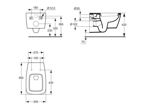 Ideal standard 21 vaso sospeso therapy 4 home for Dimensioni water