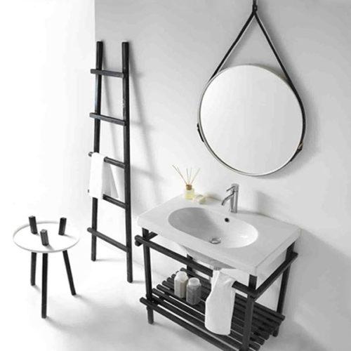 Ceramica galassia eden specchio tondo con cinghie for Specchio tondo bagno