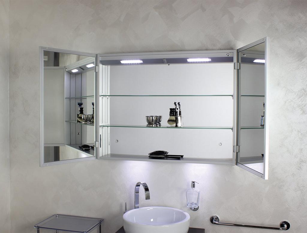 Koh i noor riflessi specchio contenitore anta doppia con - Specchi bagno con contenitore ...